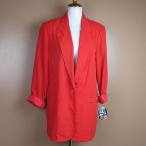 16 NWT Vintage Red Blazer Jacet Sag Harbor Plus